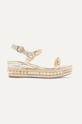 Christian Louboutin Pyraclou 60 Spiked Textured-leather Wedge Sandals - Gold