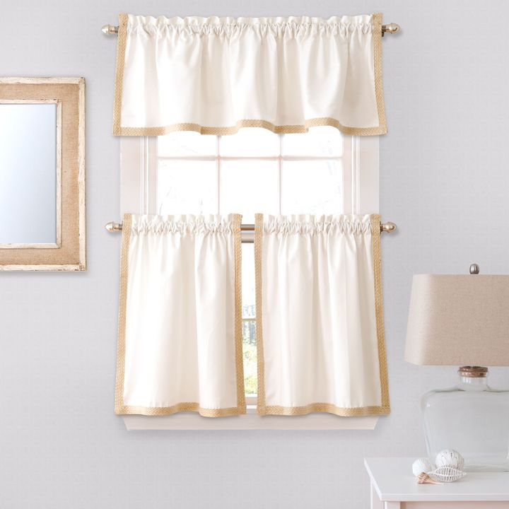 Bed Bath & Beyond Seaview Window Curtain Tier Pair and Valance in White