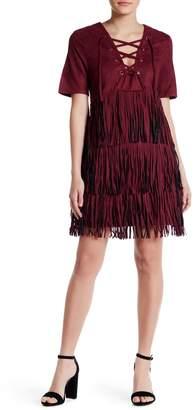 Raga Faux Suede Fringe Mini Dress