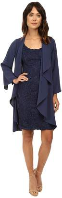 Adrianna Papell Draped Jacket w/ Scoop Lace Dress Women's Dress