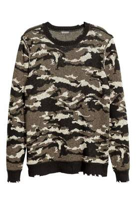 H&M Jacquard-knit Sweater - Khaki green/patterned - Men