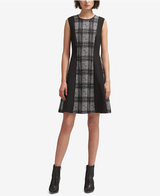 DKNY Colorblocked Plaid A-Line Dress, Created for Macy's