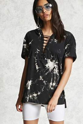 Forever 21 Crystal Wash Strappy Hooded Tee