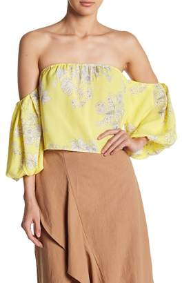 Lush Off-the-Shoulder Bubble Sleeve Crop Top