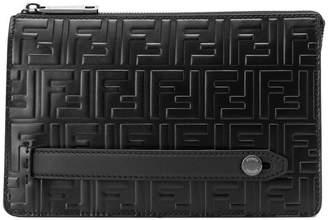 Fendi embossed logo clutch