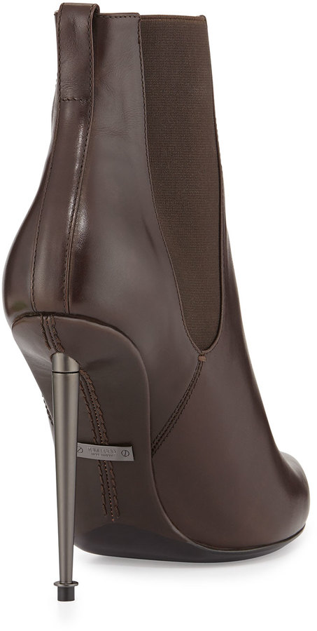Tom Ford Metal-Heel Leather Ankle Boot, Chocolate