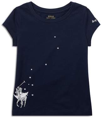 Polo Ralph Lauren Girls' Embroidered Graphic Tee - Little Kid