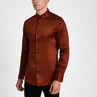 River Island Mens Red button-down long sleeve shirt