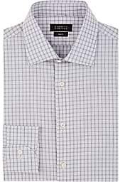 Barneys New York Men's Grid-Checked Cotton Poplin Shirt - Light Gray