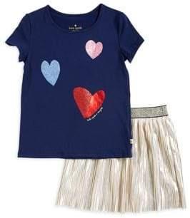 Kate Spade Little Girl's Two-Piece Glitter Heart T-Shirt and Metallic Skirt Set