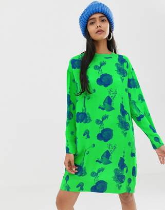 Weekday shirt dress with fruit plant print in green
