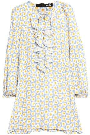Ruffled Pussy-Bow Floral-Print Crepe Mini Dress