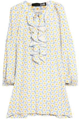 Love Moschino Woman Ruffled Pussy-bow Floral-print Crepe Mini Dress Yellow Size 44 Love Moschino