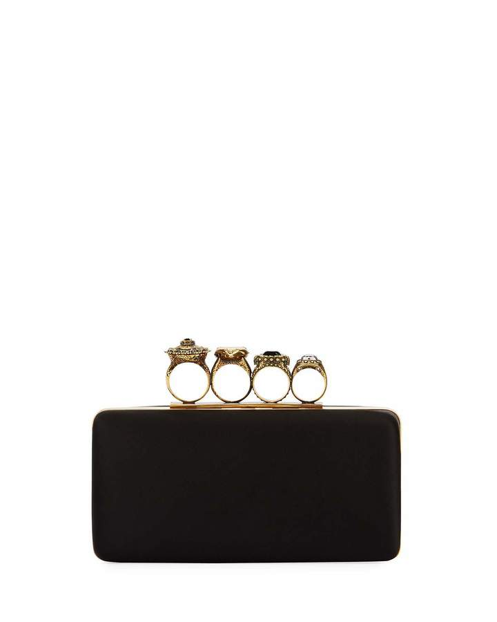 Alexander McQueen Alexander McQueen Knuckle Grain Leather Clutch Bag, Black