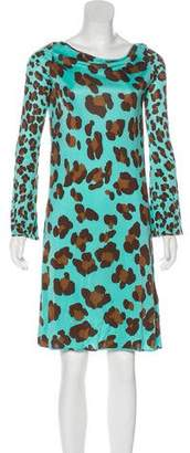 Blumarine Long Sleeve Silk Dress