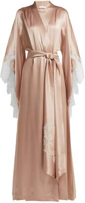 Carine Gilson Lace-embroidered silk-satin robe