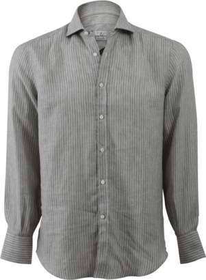 Brunello Cucinelli Stripe Spread Collar Shirt