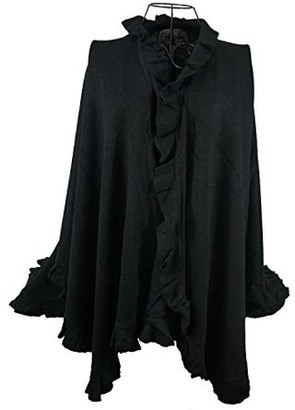Nice & Great Luxury Women Ruffle Edge Poncho Knitted Shawl Premium Lady Soft Knit Cape Jacket Fashion Scarf Stretchy Wrap Over Solid Color Girl Large Shawl Elegant Cloak Warmer, Black