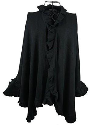Nice & Great Luxury Women Ruffle Edge Poncho Knitted Shawl Premium Lady Soft Knit Cape Jacket Fashion Scarf Stretchy Wrap Over Solid Color Girl Large Shawl Elegant Cloak Warmer, Slate