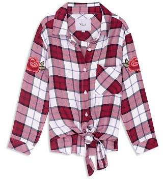 Rails Girls' Valerie Plaid Tie-Front Shirt with Patches - Little Kid, Big Kid