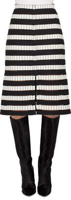 Akris A-Line Striped-Embroidered Long Skirt w/ Slits
