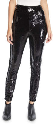 Frame Sequin Pull-On Ankle Skinny Pants