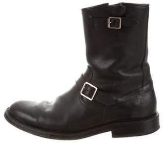 Saint Laurent Leather Moto Boots