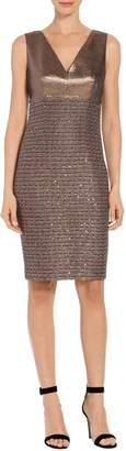 St. John Twisted Sequin Knit V-Neck Dress
