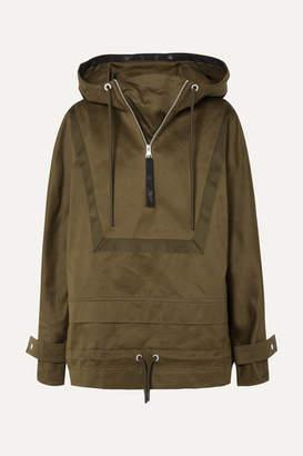 Reebok x Victoria Beckham Hooded Grosgrain-trimmed Cotton-canvas Jacket - Army green