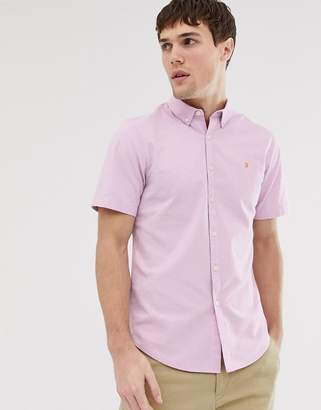 Farah Steen slim fit short sleeve textured shirt lilac