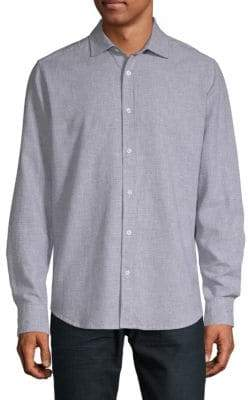 Saks Fifth Avenue Linen & Cotton Houndstooth Shirt