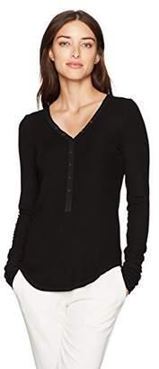 Three Dots Women's Viscose Henley Loose Long Shirt