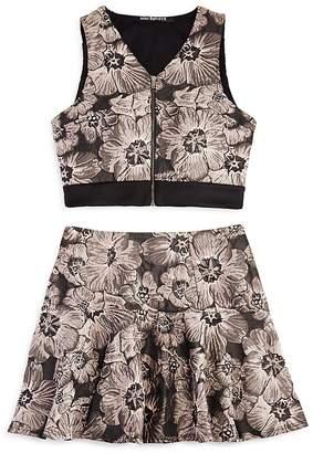 Miss Behave Girls' Floral Zip-Up Top & Skirt Set - Big Kid