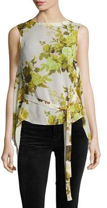 Robert Rodriguez Sleeveless Floral Top W/ Back Drape, Yellow