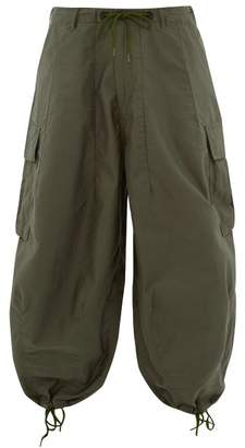 Wide Legged Cotton Cargo Trousers - Mens - Green