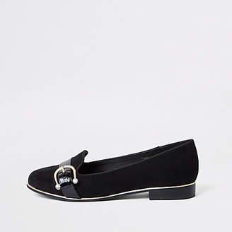 River Island Black rhinestone buckle loafers