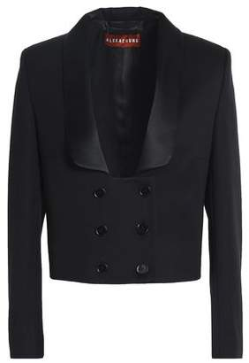 ALEXACHUNG Double-Breasted Satin-Trimmed Wool-Twill Jacket