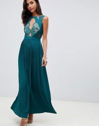 Asos Design DESIGN premium scallop lace top pleated maxi dress