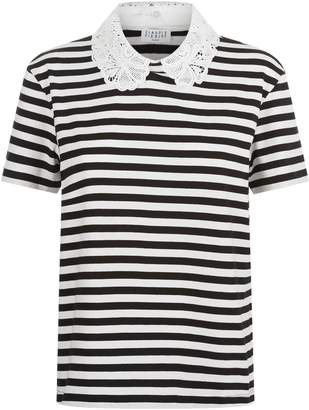 Claudie Pierlot Embroidered Collar Striped T-Shirt