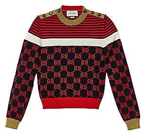 Gucci Women's Long-Sleeve Cotton Stripe Buttoned Sweater