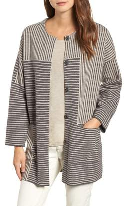 Eileen Fisher Stripe Merino Wool Cardigan