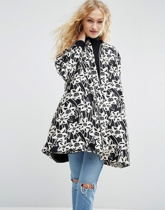 ASOS Made In Kenya Floral Satin A-Line Coat With Rib Detail $128 thestylecure.com