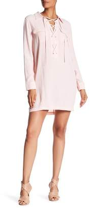 1 STATE 1.State Long Sleeve Lace Up Shift Dress