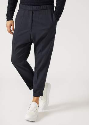 Emporio Armani Solid Worsted Wool Trousers