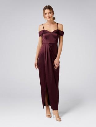 Forever New Loretta Bardot Gown - Dark Plum - 4