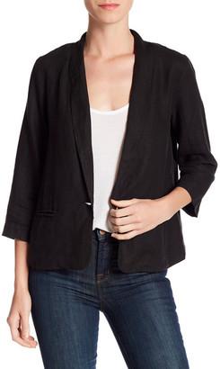 Three Dots Solid 3/4 Sleeve Linen Blazer $198 thestylecure.com