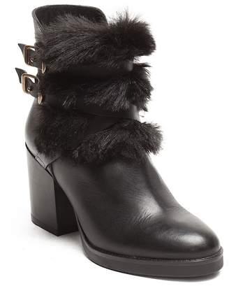 Manas Design Faux Fur Side Buckle Leather Boot