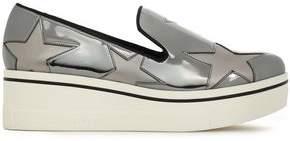 Stella McCartney Laser-cut Mirrored Faux Leather Slip-on Sneakers