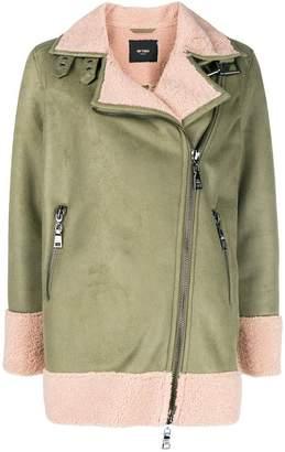 Twin-Set faux shearling biker jacket
