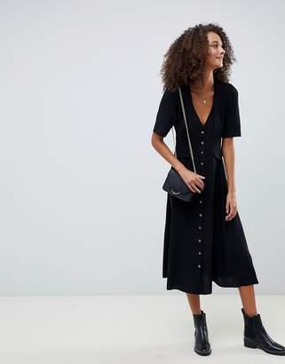 Asos DESIGN button through midi skater dress with pockets